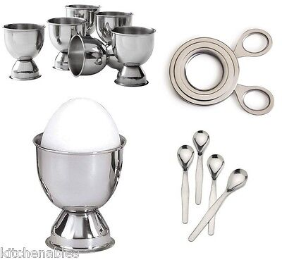 STAINLESS STEEL SOFT BOILED EGG Set - 6 Cups, 4 Spoons & Easy Egg Topper Cutter