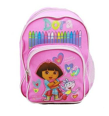 Dora The Explorer 10 Mini Backpack In Pink With Crayons (100% Authentic)
