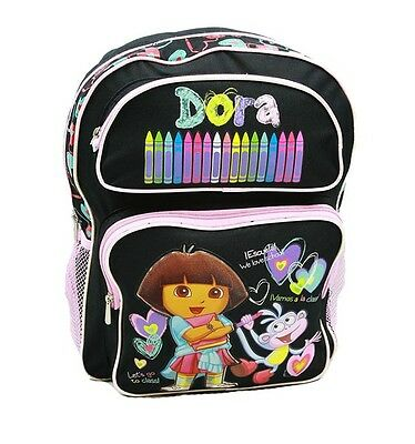 Dora The Explorer 16 Large Backpack In Black With Crayons (100% Authentic)