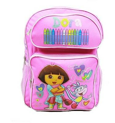 Dora The Explorer 16 Large Backpack In Pink With Crayons (100% Authentic)