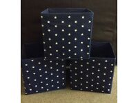3 Navy Blue and white stars storage boxes