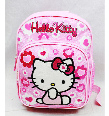 Hello Kitty Floral Heart Mini Backpack/School & Book Bag Kids Girls by Sanrio