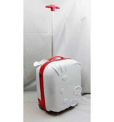 NWT Hello Kitty ABS Luggage Hard Case Luggage Embossed Artwork by Sanrio- WHITE
