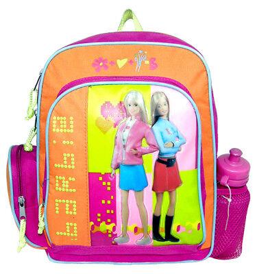 Barbie Pink/Orange Small Backpack/School Book Bag for Kids w Free Water - Barbie Book Bag