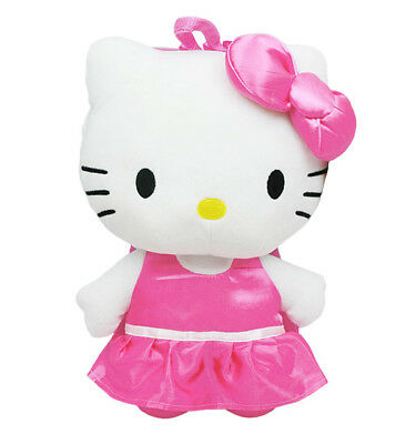 Hello Kitty Satin Plush Backpack, NEW for Kids Girls Sanrio Pink White (Hello Kitty Backpacks For Girls)