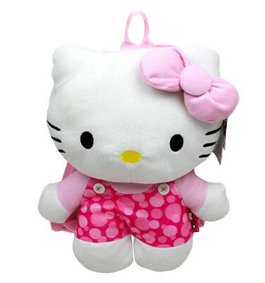 Hello Kitty Dots Plush Backpack, NEW for Kids Girls Sanrio Pink White (Hello Kitty Backpacks For Girls)
