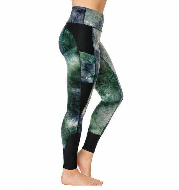Horseware Ladies Fashion Riding Tights Silicon - Green/Navy Tie Dye
