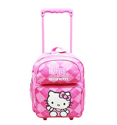 Hello Kitty Argyle Small Toddler Rolling Backpack Sanrio for Kids Girls Pink (Hello Kitty Backpacks For Girls)