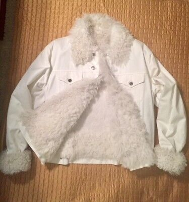 GUCCI True Vintage Jean Jacket, Lamb hair lining,Italian size 54-Winter White