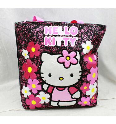 Hello Kitty Flower Tote/Shopping Bag Black/Pink New for Kids Girls by Sanrio  - Childrens Shopping Bag