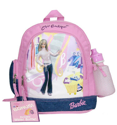 Barbie Pink Chic Small Backpack/School Book Bag for Kids w Free Water - Barbie Book Bag