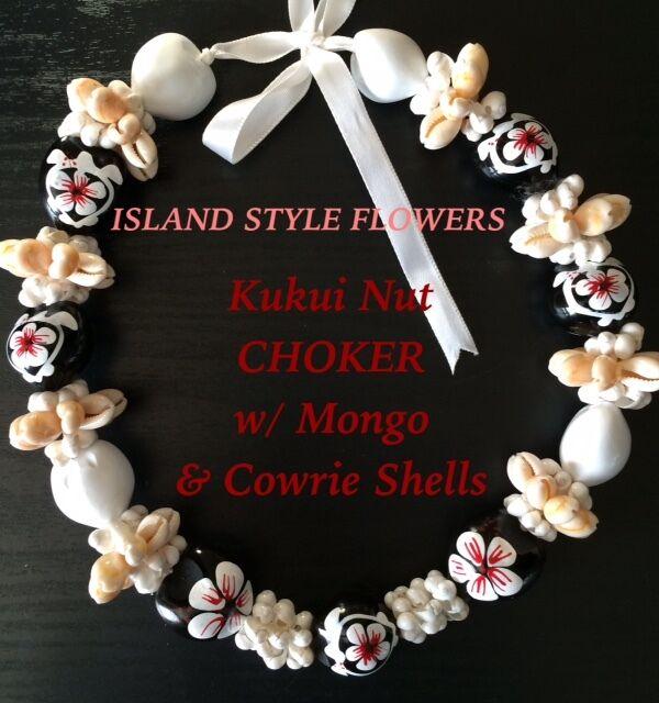 Hawaii Wedding Kukui Nut Lei w/ Mongo &Cowrie Shell Graduation Luau CHOKER-White