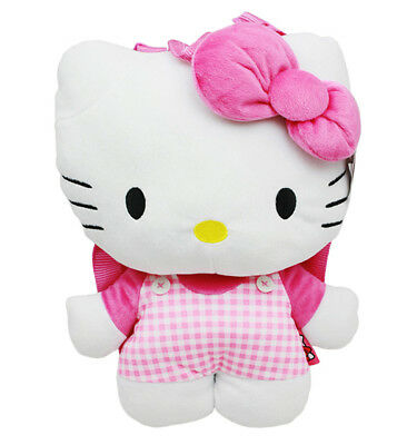Hello Kitty Checker Plush Backpack, NEW for Kids Girls Sanrio Pink White (Hello Kitty Backpacks For Girls)