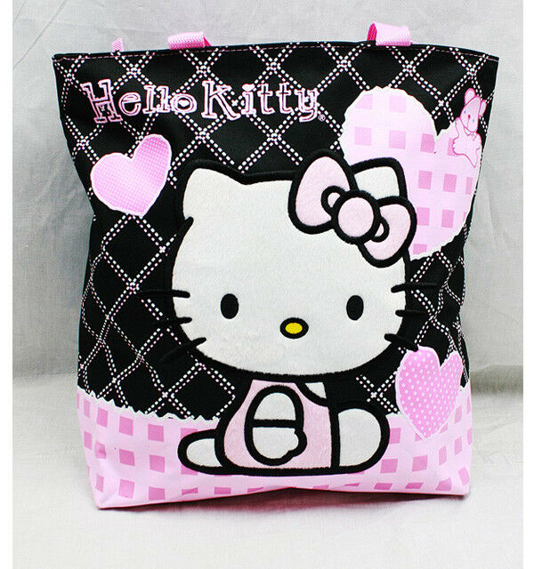 Hello Kitty Black w/ Pink Hearts Tote Bag