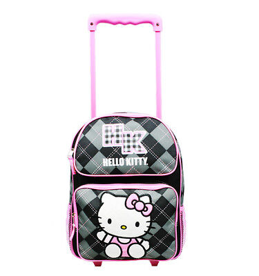 Hello Kitty Argyle Small Rolling Backpack Sanrio Books for Kids Girls Pink (Hello Kitty Backpacks For Girls)