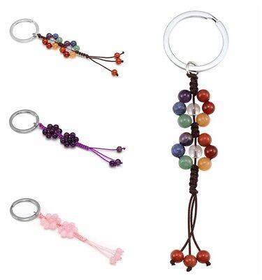 Chakra Stone Beaded Handmade Key Chain Key Ring Braides Fashion Jewelry -