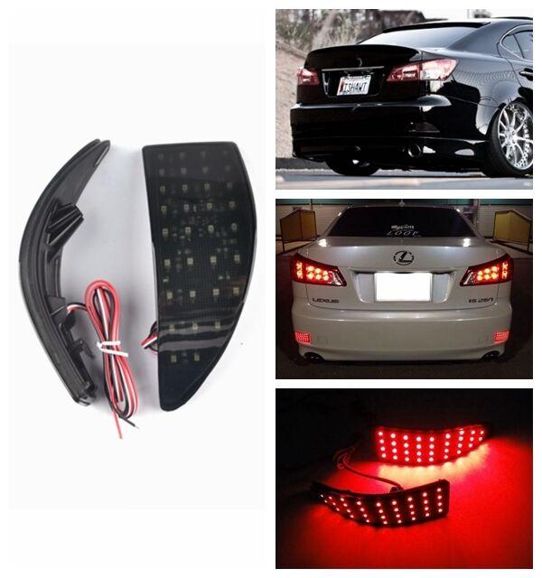 2x LED Lens Rear Bumper Reflector Brake Light MK II For Lexus IS 250 220d Black