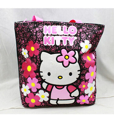 Bags Hello Kitty (Tote Bag - Hello Kitty - Flowers Black  New Gifts Girls Hand Purse)