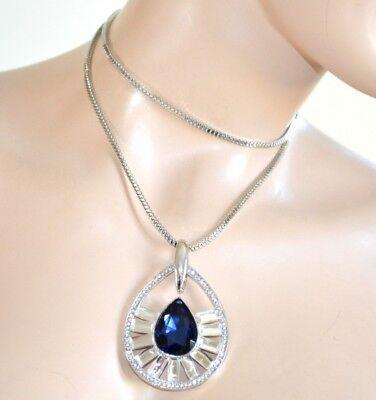 COLLAR largo mujer plata cuello redondo colgante cristal azul strass fiesta 830
