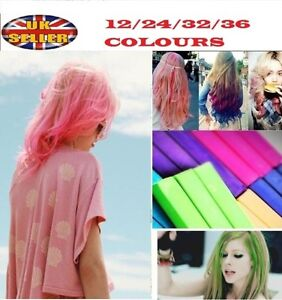 12-24-32-36-colors-Temporary-DYE-SALON-KIT-SOFT-Hair-Chalks-Pastels-Wash-Out
