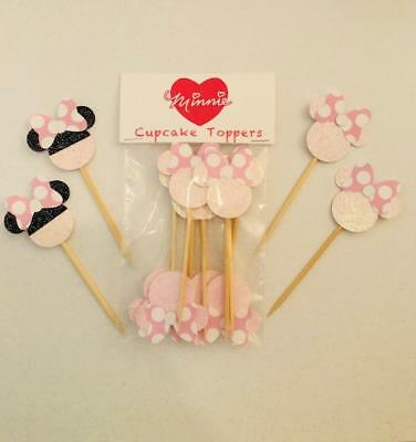 Minnie Mouse For Birthday Party (Minnie Mouse Party  Cupcake Toppers Birthday Baby Shower Set of)