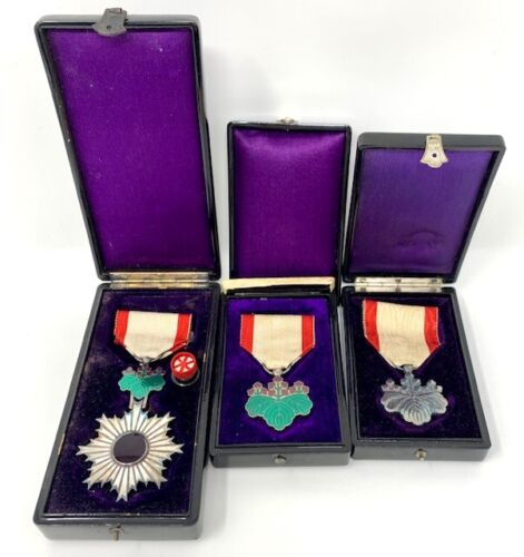 3 WW2 WWII Japanese Order of the Rising Sun 6 7 8 Class Medal Japan Military Set