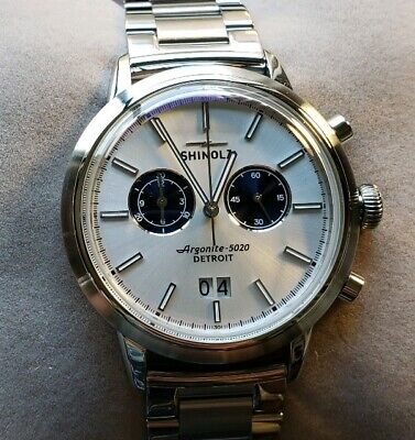 Shinola Bedrock Watch With 42mm Silver Chronograph Face & Silver Breclet