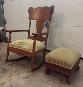 ANTIQUE ROCKING CHAIR AND FOOTSTOOL