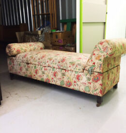 Vintage Day Bed / Chaise Longue with storage. Wonderful character piece in original condition.