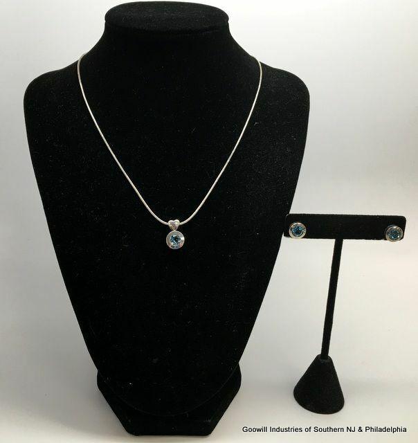 Sterling Blue Topaz Necklace/Earrings Set
