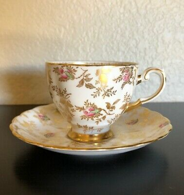 TUSCAN FINE ENGLISH BONE CHINA CUP & SAUCER WITH GOLD LEAVES & PINK ROSES Pink Bone China