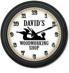 Woodworking PERSONALIZED Wall Clock Carpenter Wood Shop Tools GREAT GIFT Black