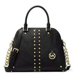 Michael Kors Studded Leather Satchel (Astor Large, Brand New)