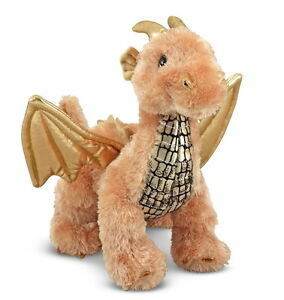 NEW-Gold-Luster-Dragon-with-Wings-Stuffed-Animal-Toy-Plush-Melissa-Doug-7571
