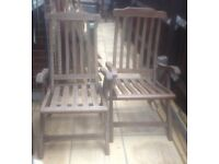 2x large marching folding hardwood garden chairs