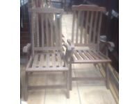 2x large matching folding hardwood garden chairs