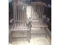 2x large matching folding hardwood garden chairs