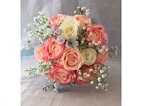 Wedding Bridal Bouquet, Pink Blush Silk Rose & Crystals