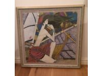 JOB LOT 7 WOODEN FRAMED PICTURES / PRINTS ABSTRACT STYLE VERY UNUSUAL A REAL TALKING POINT