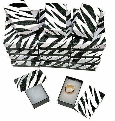 25 Zebra Jewelry Gift Boxes Cotton Filled 2-12x1-12x78 Black White