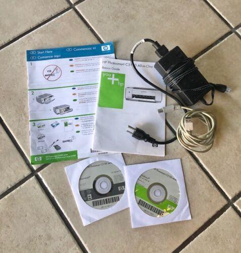 Hp Photosmart C3100 c3180  Printer Power Cord Plug  Book Driver Disk