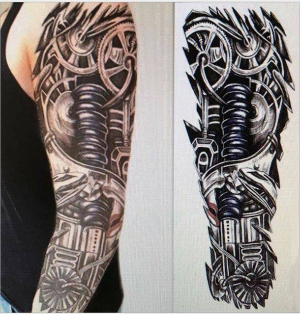 Details About Full Robot Arm Temporary Tattoo Sleeve Stickers Body Art 3d Tattoo Terminator