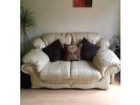 Luxury Leather Sofa Settee In Ivory