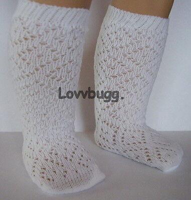"""Lovvbugg White Lattice Diamond Socks Stockings for 18"""" American Girl Doll Clothes"""