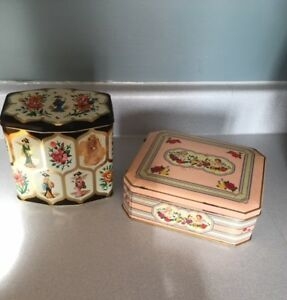 2 VINTAGE TIN CANS with covers