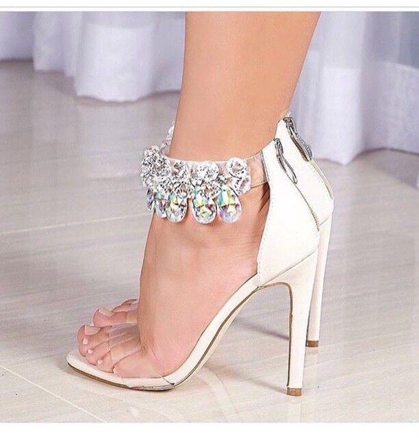 Women's  Fashion open toes Cape Robbin Clear Staps Heels wit