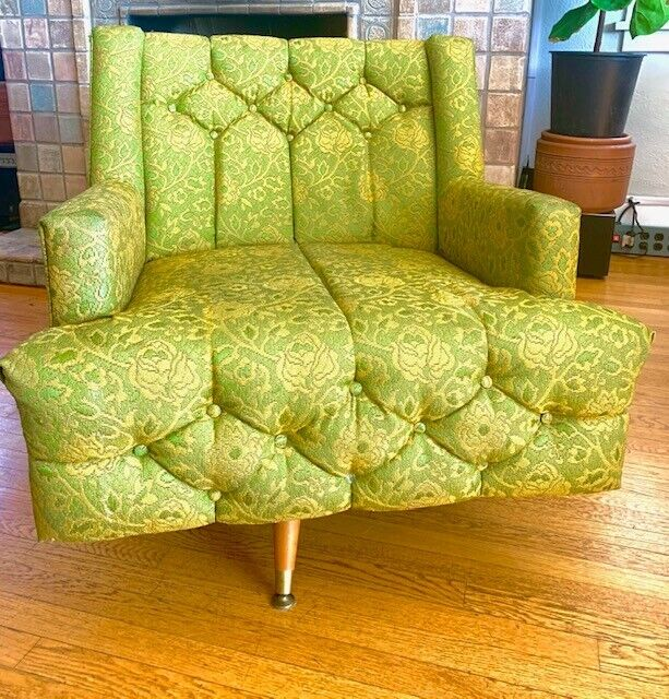 Vintage Mid-Century Swivel Chair in Gorgeous Green with Yellow Highlights