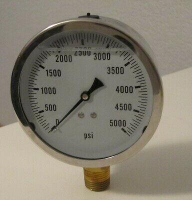 New Hydraulic Liquid Filled Pressure Gauge 0-5000 Psi 4 Face 12 Npt Lm