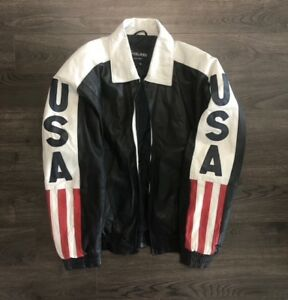 Vtg Leather USA Big Logo Jacket