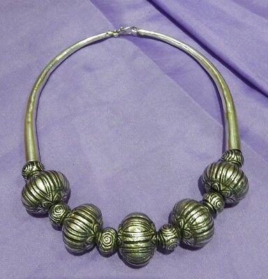 "925 Sterling Silver Fashion Pumkin Design Emboss Silver Necklace Choker 18"" Long"